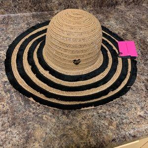 NWT Betsey Johnson Friged Floppy Hat